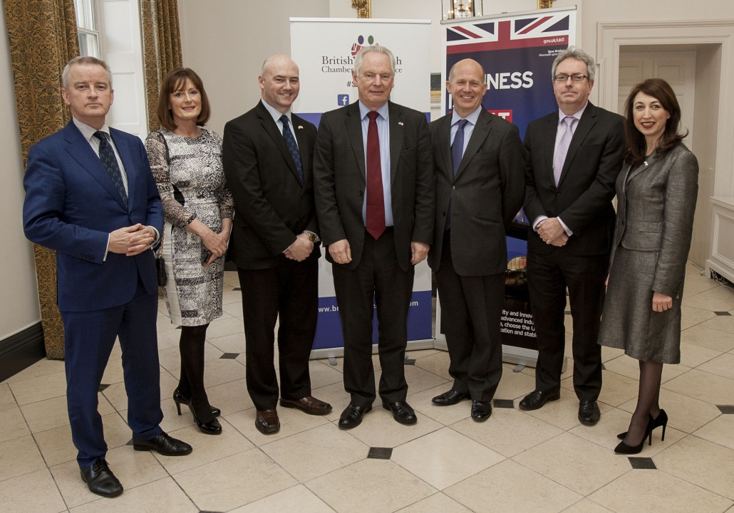 Pictured at the British and Irish Chamber of Commerce lunch held in the Merrion Hotel today were, from left,  John McGrane, Director General British and Irish Chamber of Commerce, Yve O'Driscoll, Director of Membership, BICC, Paul Caplis, Director BICC, Lord Francis Maude, UK Trade and Investment Minister, Dominick Chilcott, UK Ambassador to Ireland, Peter O'Shea, ESB and Shirley McCay, Director of Trade and Investment, UKTI Iain White/Fennell Photography Fennell Photography 2016
