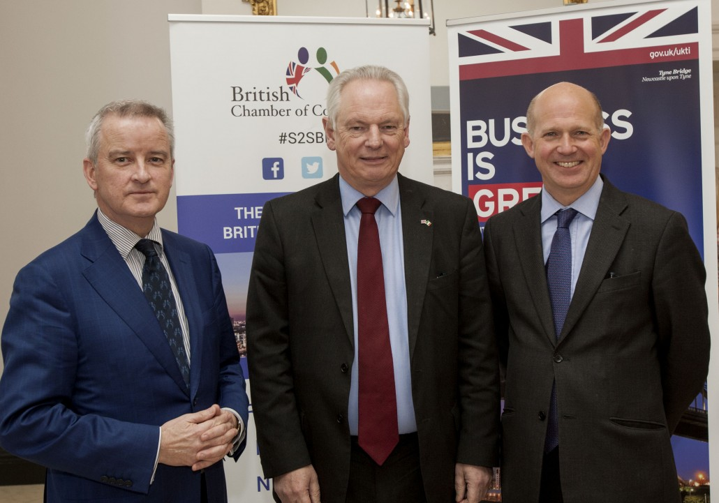 Pictured at the British and Irish Chamber of Commerce lunch held in the Merrion Hotel today were, from left,  John McGrane, Director General British and Irish Chamber of Commerce, Lord Francis Maude, UK Trade and Investment Minister, Dominick Chilcott, UK Ambassador to Ireland Iain White/Fennell Photography Fennell Photography 2016